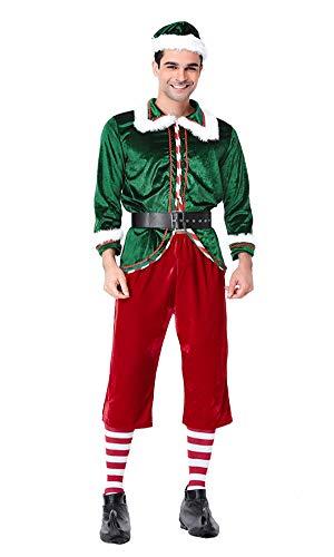 Helper Kostüm Elf Santa's - yolsun Herren Buddy The Elf Kostüm Deluxe Santa's Helper Cosplay Kleid für Weihnachten, Party - Grün - Large
