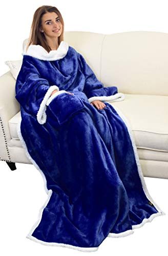 Catalonia Platinum Decke mit Ärmeln, Dual Microplush Fleece Sherpa Warme Decken für Erwachsene Frauen Männer 183cm x 140cm - Decke ärmel Werfen