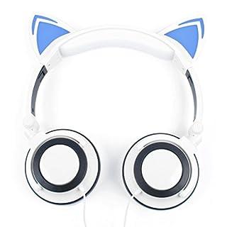 DURAGADGET Kinder-Kopfhörer in Weiß im lustigen Katzen-Design mit LED und Gepolsterten Ohrmuscheln. Für Trevi DVBX 1412 | Axxion ADVD-1202 | Soundmaster PDB1800 DVD-Player