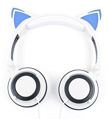Kinder-Kopfhörer in Weiß im lustigen Katzen-Design mit LED und gepolsterten Ohrmuscheln. Für August DTV905 | 9.5