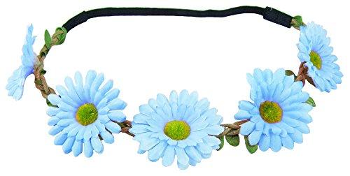 Das Kostümland Blumen Haarband mit Margeriten - Hellblau