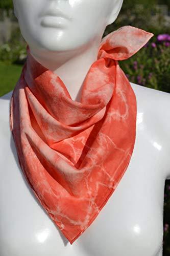 Halstuch Nickituch Kopftuch Batiktuch Batik rot Unikat von Hand gefärbt -