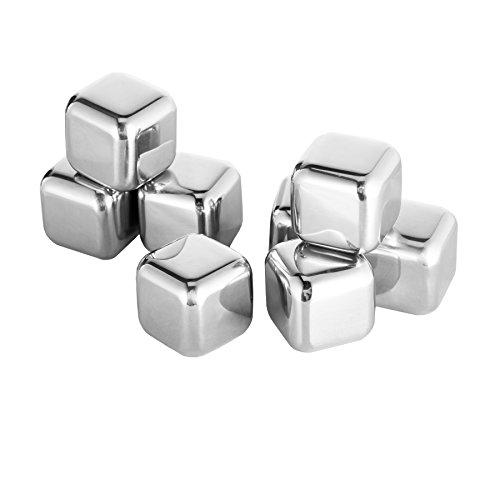 CO-Z 8 Stück Whisky Steine Whiskey Stone Edelstahl mit Edelstahlzange Kühlsteine Eiswürfel Ice Cubes Set Stainless Steel Food-Graded Wiederverwendbar