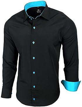 Camicia da uomo per business, matrimonio, tempo libero, taglio aderente–S M L XL XXL, R-44 nero / turchese XXXXXXL