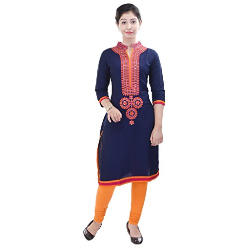 Purvahi Beautiful Blue Embroidered  Rayon Kurti