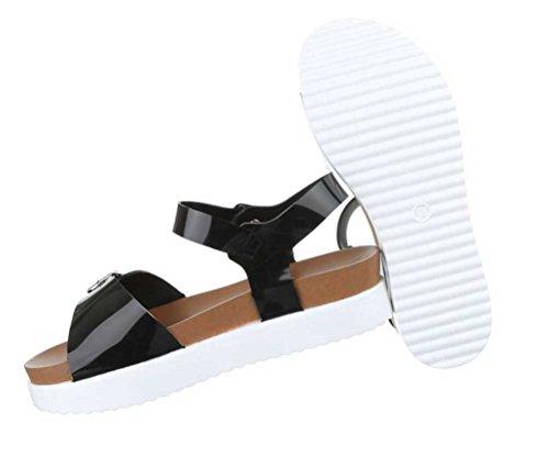 Damen Sandaletten Schuhe Sandalen Schwarz Schwarz