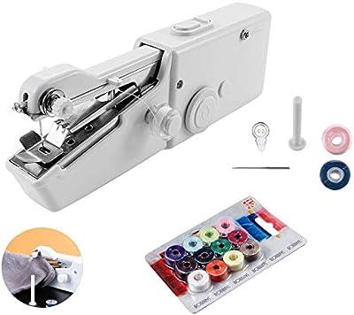 QILICZ - Mini máquina de Coser portátil de Mano + 14 bobinas de Hilo con Accesorios de Costura para Ropa de Tela, Cortina, Bricolaje, Bufanda - AA