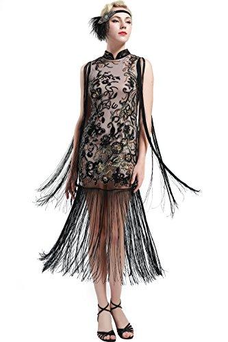 ArtiDeco 1920s Kleid Damen chinesisches Etuikleid Stil Blumen -