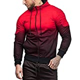 UFACE Herren Panel Plissee Kapuzen Casual Sweatshirt Winter Langarm Spleißen Falten Kapuze Top Bluse Trainingsanzüge(Rot,L