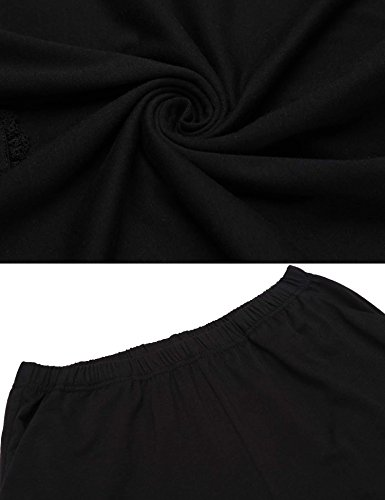 ADOME Damen Schlafanzug Baumwolle Rundhals Spitze nachthemd Langarm Shirt und hosen Pyjamas lang Zweiteiliger Herbst Schwarz/Grau/Blau GR.34-42 7435_Schwarz