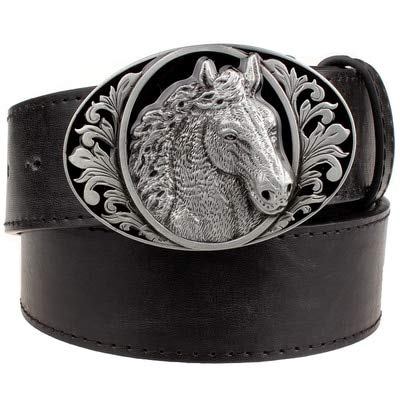Cinturón de moda Horse Print Animal Belt Punk Rock Style Men's Belt Black