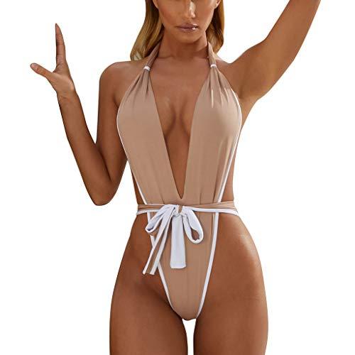 VBWER Damen Sexy Einteiler Swimsuit Bandeau Figurformender Blumendruck Strand Bikin mit Langem Volant