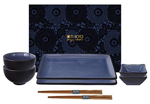 TOKYO design studio, Glassy Blue, Set con 2 Piatti + 2 Ciotole per Salsa + 2 Ciotole per Riso + 2 Bacchette, 8 pz, maiolica