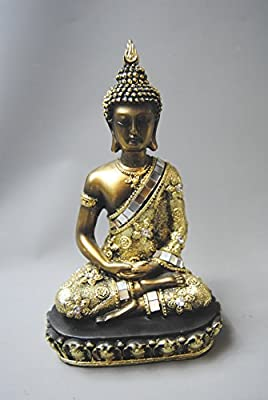 Antique Bronze Thai Buddha Figurine Figure with Mirrored and Diamante detail
