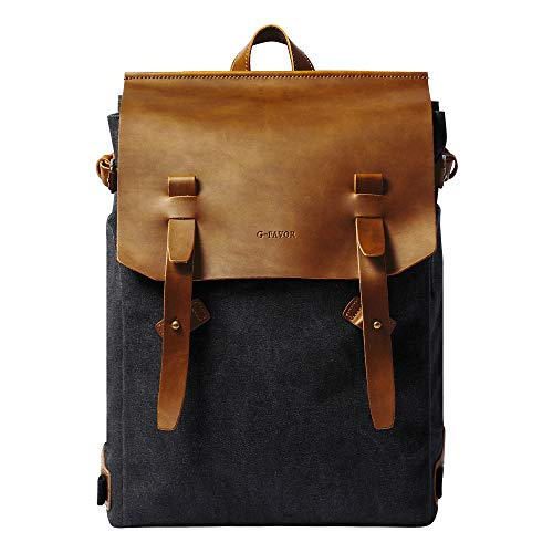 G-FAVOR Vintage Canvas Rucksack Damen Lederrucksack Herren Schulrucksack Casual Daypack Laptop Rucksack für 15,6 Zoll Laptop, Reise Rucksack schwarz