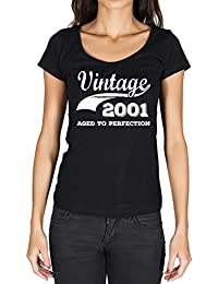 Vintage Aged to Perfection 2001, tshirt femme anniversaire, femme anniversaire tshirt, millésime vieilli à la perfection tshirt femme, cadeau femme t shirt