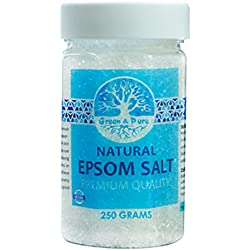 Green and Pure - Premium Quality Natural Epsom Salt | Bath Salt (Magnesium Sulphate) for Relaxation & Pain Relief - 250 Gms