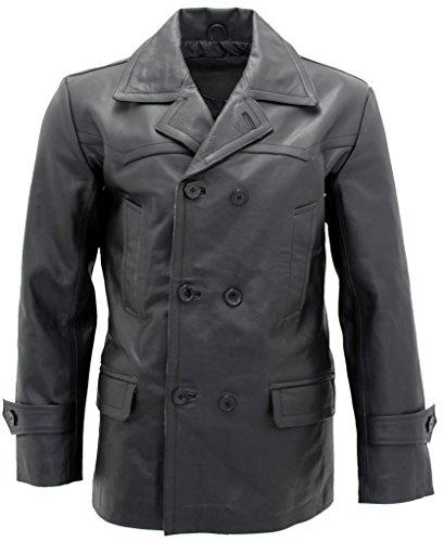 Infinity Herren Schwarz German Marine Dr Who Kuhfellleder PEA Coat 2XL (Who Gürtel Dr)