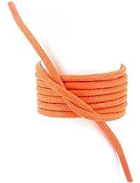 Les lacets Français - Lacets Ronds épais 3mm Coton Ciré Couleur Mandarine