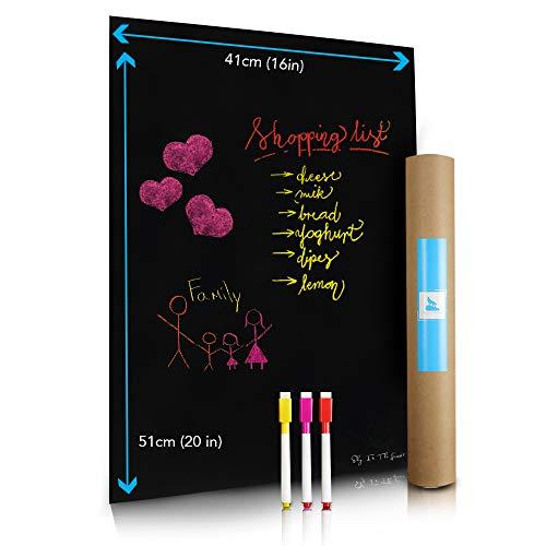 Magnetische Nasslösch-Tafelfolie für Küchen-Kühlschrank | Fleckenresistent | Enthält 3 Marker mit Magneten | Kühlschrank Tafel für Kalender, Organizer, Planer - Ideal für Familien | 41x51 cm