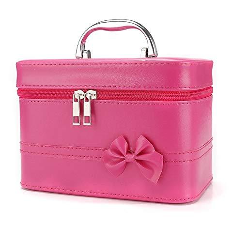 Make-up-Box, bogen quadratische tragbare Kosmetiktasche, tragbare Reise-Kosmetik-Etui, Schönheit Nagel Schmuck Aufbewahrungsbox (Color : Rose Red)