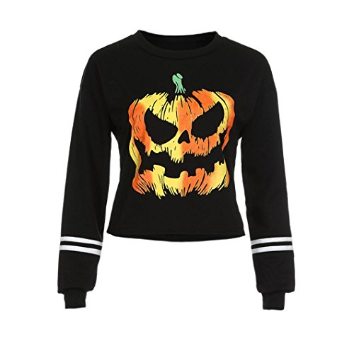 Halloween Flyer Kostüme (Damen Bluse,Honestyi 2017Damen Round Neck Halloween Print Langarm Sweatshirt Tops (Medium,)