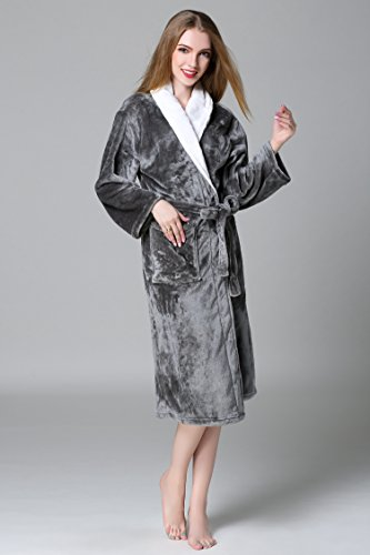 Fortuning's JDS Flanella Fleece Accappatoio lungo accappatoio termale per le donne Uomini Coppie Grigio