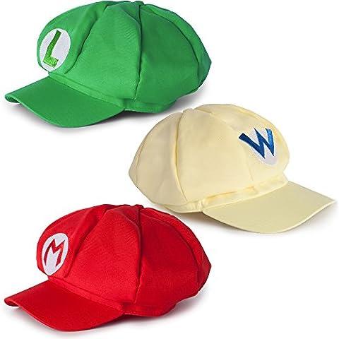 Super Mario Mützen Set 3er Pack aus Mario, Luigi, Wario (Rot, grün, gelb)