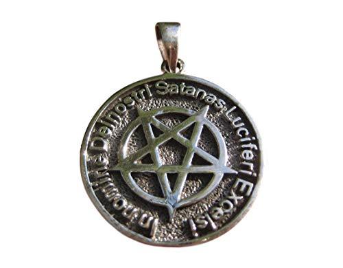Plata 925 Pentagrama invertido Pentaculo colgante collar satanico A22 925 Silver Inverted Pentagram Pentacle Pendant Necklace Satanic A22
