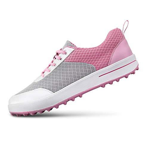 HJJGRASS PGM Golfschuhe für Frauen, Breathable Ineinander greifen-Tuch Golfschuhe Damen Super Light Wear-Resistant Keine Knitter Net Cloth Golf Turnschuhe 34-39,Rosa,35