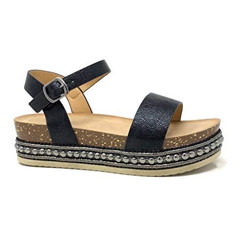 Kork Heels (Angkorly - Damen Schuhe Sandalen - Folk/Ethnisch - Bequeme - Flache - Nieten-Besetzt - String Tanga - Kork Keilabsatz high Heel 5 cm - Schwarz 3 1039 T 37)