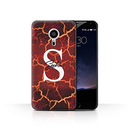 eSwish Personalisiert Individuell Mode Marmor Stein Hülle für Meizu Pro 5 / Rissige Geschmolzene Lava Design/Initiale/Name/Text Schutzhülle/Case/Etui