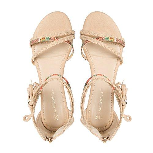 Ideal-semi-Shoes Sandali compensate effetto pelle con frange, con flangia navajo Laurita intrecciati e stampati Beige (Beige)