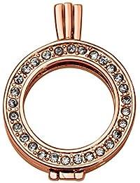 Quiges Rosévergoldetes Kupfer Auswechselbarer Münzhalter Coin Anhänger 25mm Small mit Zirkonia
