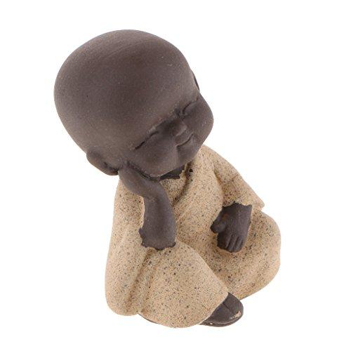 Fenteer Lila Sand Mönch Buddha Figur Skulptur Statuen Tee Haustier - Gelb