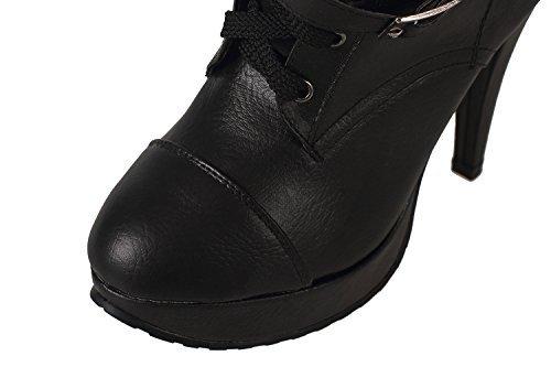 LATH.pin ® plateau ankle boots chaussures bottines pour femme avec rivets et fausse fourrure stilettos schnürboots chaussures bottes, escarpins femme Noir - Schwarztöne