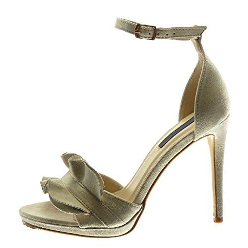 Angkorly Chaussure Mode Sandale Escarpin Stiletto Plateforme Lanière Cheville Femme à Volants Lanière Talon Haut Aiguille 11 cm Beige