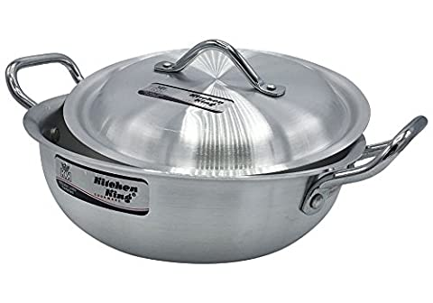 23cm to 33cm Aluminium Wok Stir Fry Casserole Deep Fryer Karahi Saucepan Cooking Kitchen King (23cm - 9inch - Capacity 3.5L)