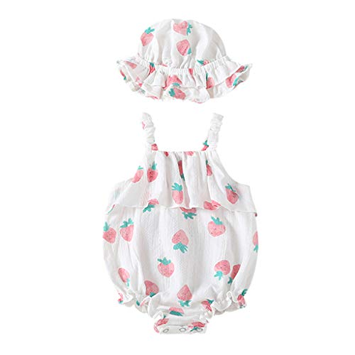 Baby Set Kostüm Erdbeer - Allegorly Baby Mädchen Ärmelloser Overall Sets Sommer Erdbeer-Druck Eleganter Jumpsuit mit Rüschen Bodys Baby Strampler Bodysuit +Bedruckter Sonnenhut 0-18 Monate