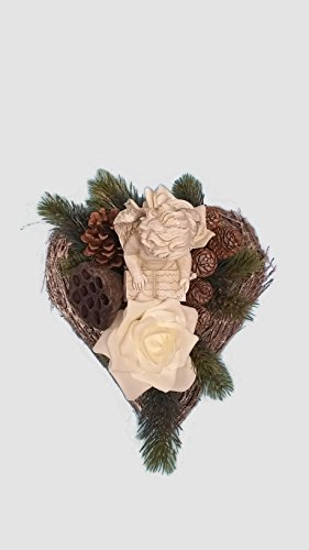 Grabgesteck Nr.2, Totensonntag, Allerheiligen, Grabschmuck, Gedenktag, Gesteck Herz mit Engel 25 x 26 cm