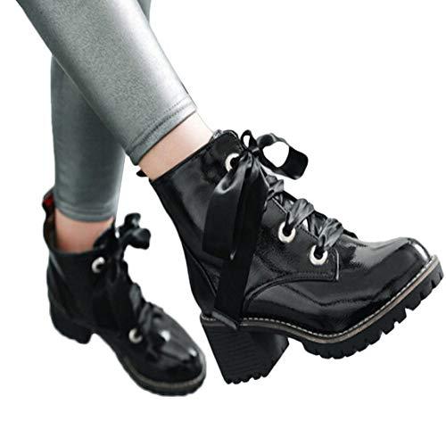 (MYMYG Frauen Runde Zehe Schuhe Chelsea Boots Madeline Western Mandel Runde Zehe PU Leder Wasserdicht Reflektierende Schuhe Lace Up Schuhe Schnürstiefel Für Frauen Winter Stiefel)