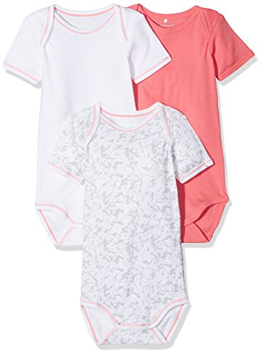 NAME IT Baby-Mädchen Body Nbfbody SS Noos, 3er Pack, Mehrfarbig (Sunkist Coral), 62