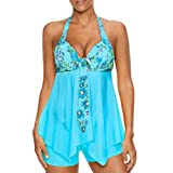 VJGOAL Damen Tankini, Damen Plus Size Farbverlauf Tankini Bikini Tops + Shorts Sets Bademode Badeanzug Badeanzug (S / 32, X-unregelmäßig-Himmelblau)
