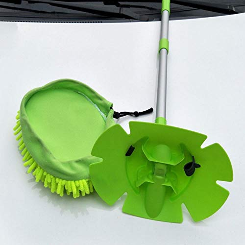 LIANGEGE Autowaschlappen Retractable Car Wash Mop Staubentfernung Abnehmbare Dual-Use-Mop Lappen Stark saugende Auto-Reinigungsmopp mit Bürstenkopf Mop Heads 60