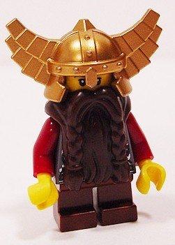 Zwergen-helm (LEGO Castle: Zwerg, Braun Bart, Metallic Gold Helm Mit Flügel, Rot Waffen Minifiguren)
