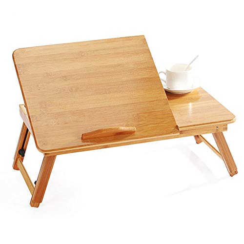 Czqlcyl Bamboo Laptop Desk Folding Desk with Cooling Fan Laptop Stand Table with Drawer -