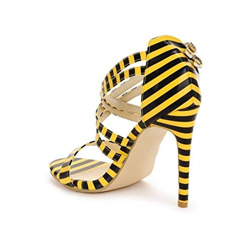 Damen Sandalen Stöckelschuhe 2018 Xinantime Streifen Leopard Schlangenhaut High Block Heels Ankle Riemchen Party Schuhe Frauen 11cm Schwarz/Gelb 35-43 (EU 39, Gelb)
