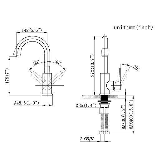 Homelody 360° Drehbar Mischbatterie Chrom Wasserhahn Küche Bad Armatur Küchenarmatur Waschbeckenarmatur - 4
