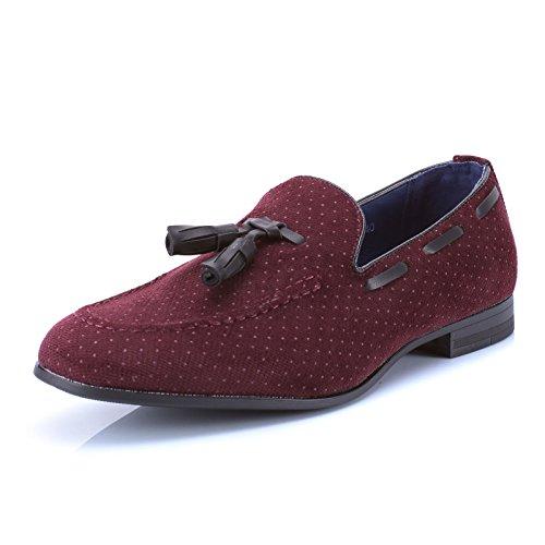 Mforshop scarpe uomo francesine parigine mocassino tessuto pois nappine elegante moda y41 - bordeaux, 44