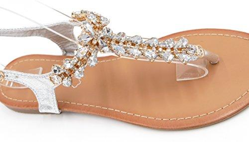 elegante Riemchensandalen Glitzer Zehentrenner Metallic Look Sandaletten (8457) Silber
